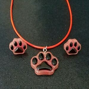 Jewelry - Paw print earrings and necklace set